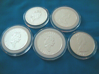 Lot of 5 Canada Silver Maple Leaf 1 oz Coins.9999 Fine 1988,89,90,93,94