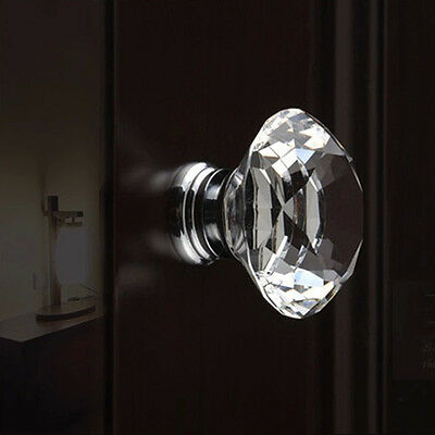 40mm Clear Crystal Glass Door Knobs Drawer Handle Cabinet  Screw