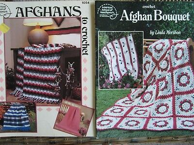 Lot of 2 Afghan Crochet Books by ASN Afghan Bouquet & Afghans to Crochet