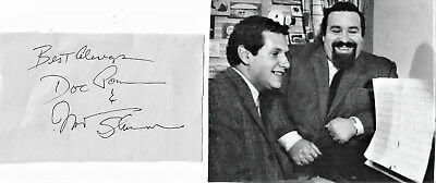 Doc Pomus/mort Shuman- Rock/roll Hall/ Fame/ Vintage In Person Hand Signed Page