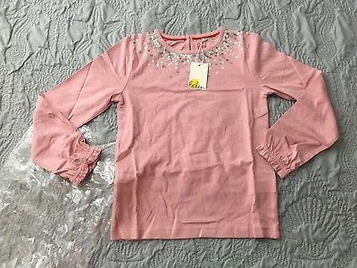 Mini Boden Girls Pink TWINKLY JERSEY TOP  Size 7-8 Years