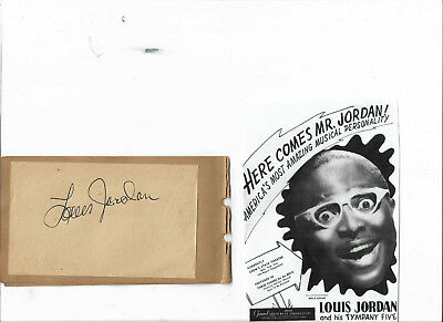 Louis Jordan Rock And Roll Hall Of Fame....vintage In Person Hand Signed Page...
