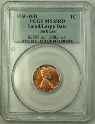 1960-D/D Small/Large Date Lincoln Memorial Cent Penny 1c Coin PCGS MS-65 RED