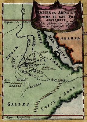 North East Africa Red Sea Abyssinia Nile source as lake 1683 antique Mallet map