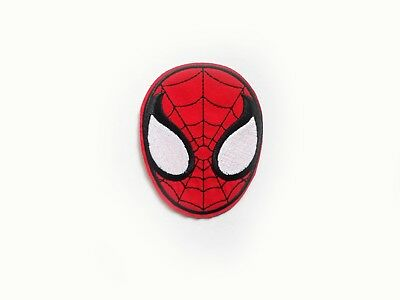 1x Spiderman head face patch Comics Super Hero S Iron On Embroidered Applique