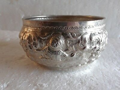 Antique Indian Silver Bowl Signed Asian Madras Repousse Burmese High Relief