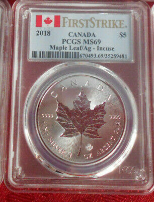 2018 Canada Silver Maple Leaf* PCGS MS69*Ag**INCUSE*First Strike*LOW MINT*