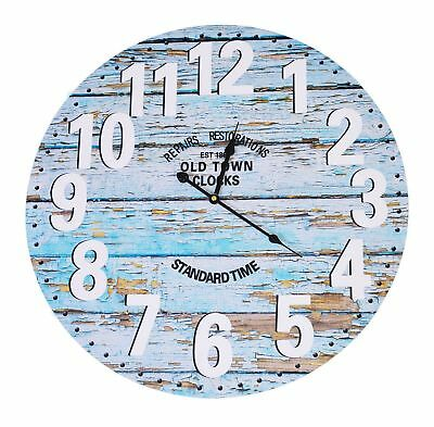 Extra Large 58cm Wooden Old Town Wall Clock Home Decor Bedroom ShabbyChic Rustic