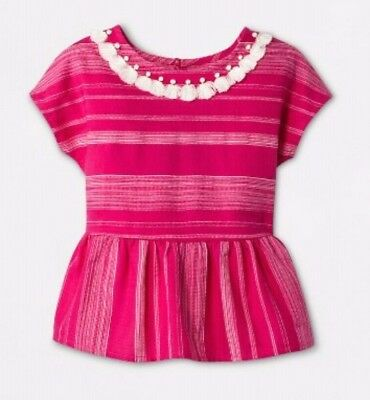 Genuine Kids Girls Toddlers Sleeveless Blouse Pink Stripe Size 18 Months (4268)