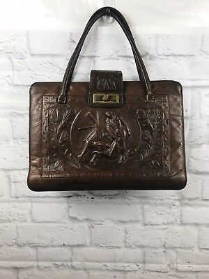 e904e06c2de2 VINTAGE 1970 s Brown Mexican Cactus Aztec Bull Tooled Leather Saddle Bag  Purse
