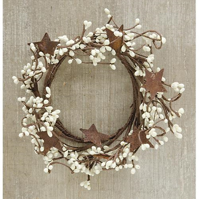 New Primitive Rustic Country CREAM PIP BERRY RUSTY STAR Candle Ring Wreath 4""