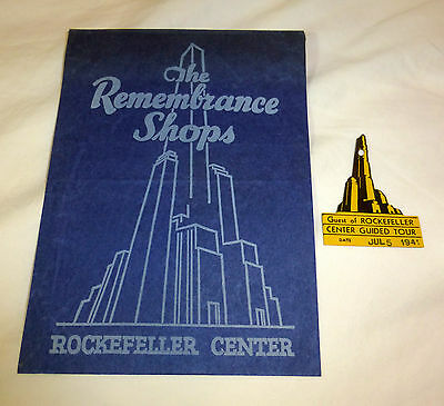 Vintage 1941 Rockefeller Center souvenir items (2), guided tour badge