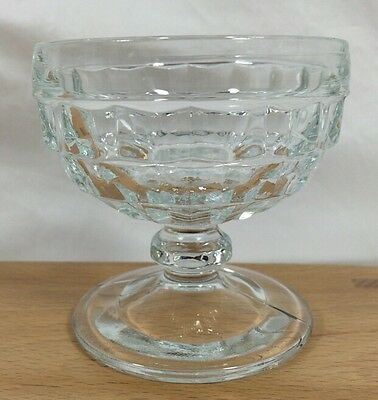 4 Vtg Indiana COLONY WHITEHALL American Clear CUBE Footed Sherbet Bowls MINT!