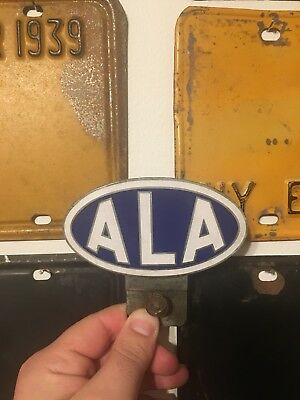Automobile League of America Porcelain License Plate Topper Sign 1940