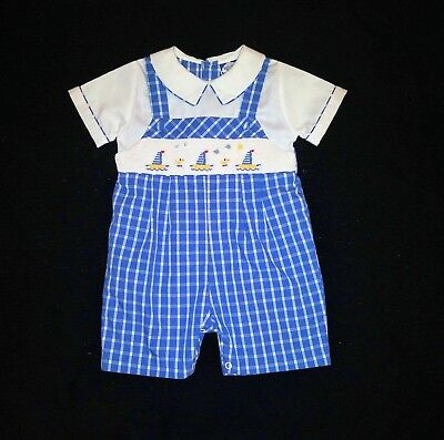 Carriage Boutique Baby Boys Hand Smocked Shortall Blue Mini Sail Boats 12 months