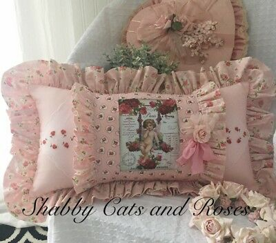 Cherub~Pink & Red Roses~Valentine Pillow~Vintage Hankies~Shell Buttons~Millinery