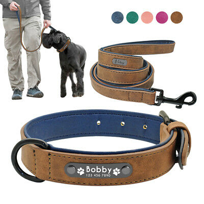 Personalised Leather Dog Collar&Leash Custom Soft Padded ID Name Engraved S-2XL