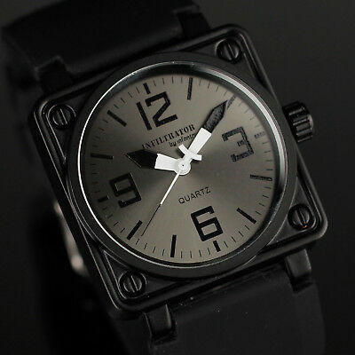 Infantry Mens Quartz Wrist Watch Analog Army Sport Black Rubber Square Gift