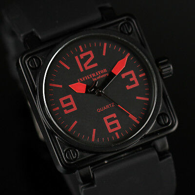 Infantry Infiltrator Mens Quartz Wrist Watch Army Sport Square Black Rubber Red
