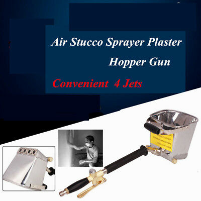 Stucco High Pressure Plaster Sprayer Cement Mortar Hopper 4 Jet Paint Wall Tool