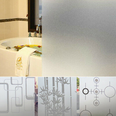 Privacy Frosted Bathroom Bedroom Glass Window Film Flower Striped Sticker US