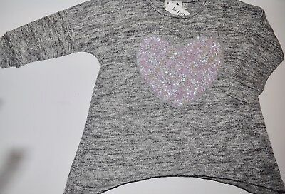 Nwt Kidpik Black White Gray Sparkly Sequin Heart Sweater Size S Small 7/8