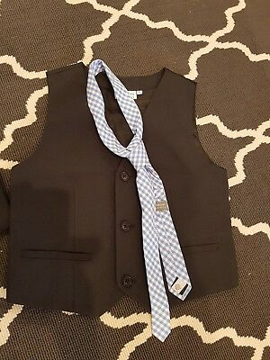 black boys waistcoat with light blue and white check tie size 6