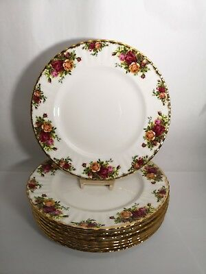 "Set of EIGHT Royal Albert ENGLAND Old Country Roses 10 1/2"" Dinner Plates"