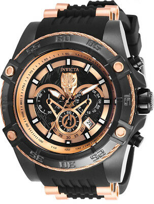 Invicta Men's Marvel Chronograph Black Tone Stainless Steel Silicone Watch 26804