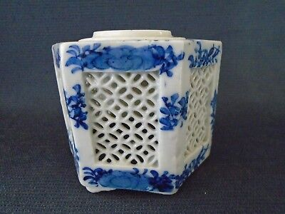 A nice antique reticulated Japanese porcelain blue & white vase, 19/20th.century