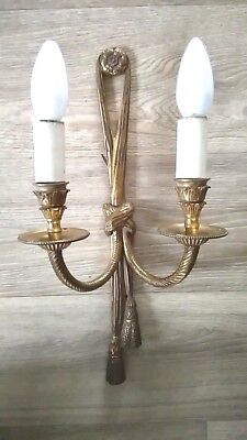 Vintage 1940's French Gilded Wall Sconce Twin Light