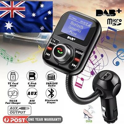 Car DAB+ Digital Radio Receiver Tuner FM Transmitter Adapter with Antenna USB AU