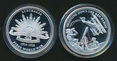 Australian 1 x .333 Silver and Alloy Red Baron Medallion WWI