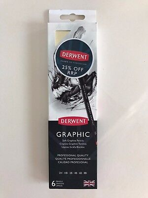 Derwent Graphic Soft Graphite Pencils Professional Quality - Tin 6 Asst Grades