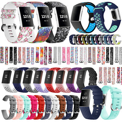Silicone Watch Band Sport Replacement Strap For Fitbit Charge 3 Fitness Tracker