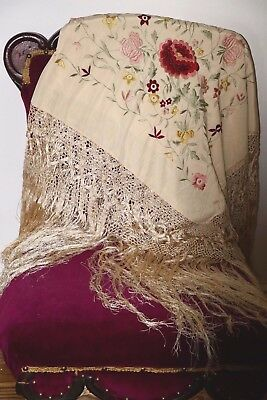 Exquisite Antique Victorian Silk Floral Shawl, Color & White Embroidery