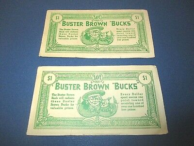 """Vintage """"Buster Brown Bucks"""" $1 Value- Two Pieces."""