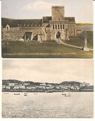 2 postcards Scotland Hebrides Iona Cathedral & general view 1922, 1958