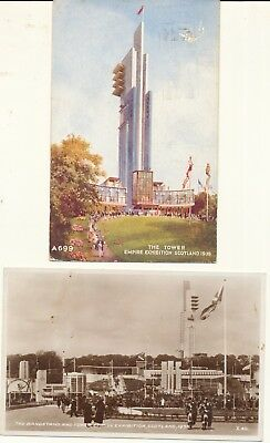 2 postcards Scotland Glasgow Empire Exhibition tower & bandstand posted 1938
