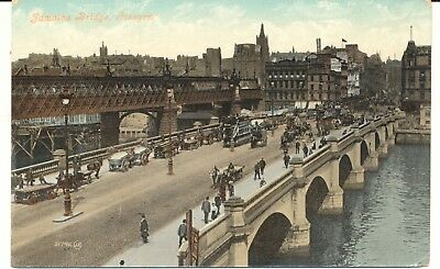 Postcard Scotland Glasgow Jamaica Bridge River Clyde trams carts posted 1912