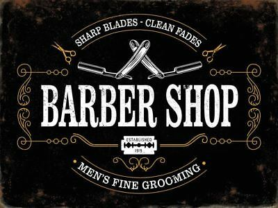 Barber shop vintage style advertising sign, 15x20cm metal wall plaque