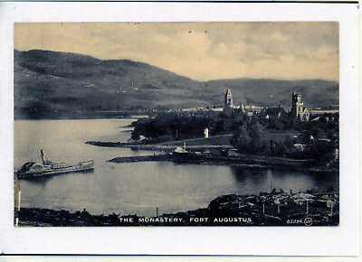 Postcard The Monastery FORT AUGUSTUS with Paddle Steamer,  Inverness SCOTLAND