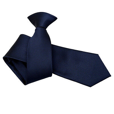 DQT Woven Plain Solid Check Navy Blue Formal Work Slim Clip On Tie