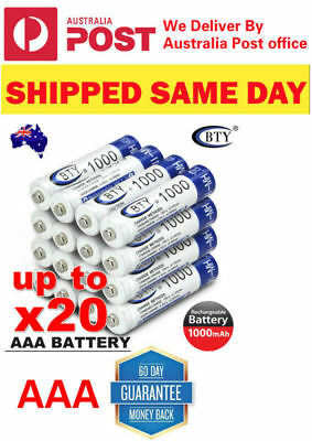 4 - 20 X Genuine BTY AAA Rechargeable Recharge Batteries 1.2V 1000mAh Ni-MH OZ