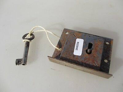 Vintage Cabinet Lock Cupboard Chest Drawer Bolt Key Old Iron Antique
