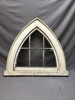 Antique Gothic 6 Lite Window Sash With Frame Old Shabby Vtg Chic 22-19E