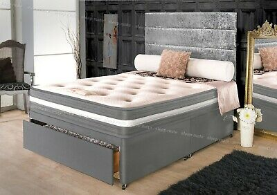 Luxury Memory Foam Quilted Sprung Grey Mattress 3ft Single 4ft6 Double, 5ft King
