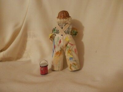 dollhouse miniature 1/12 scale clothes pin man painter doll and accessories