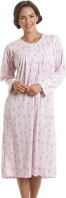 54508aabe669 Camille Womens Ladies Classic Long Sleeve Pink Floral Print Nightdress  Nighty