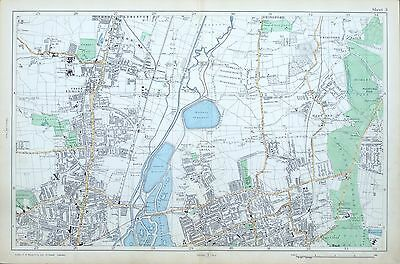 Tottenham London Map.London 1906 Tottenham Walthamstow Chingford Original Antique